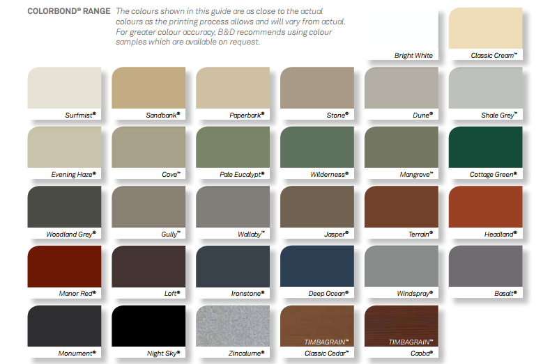 Colour Options Residential Garage Doors Central Coast